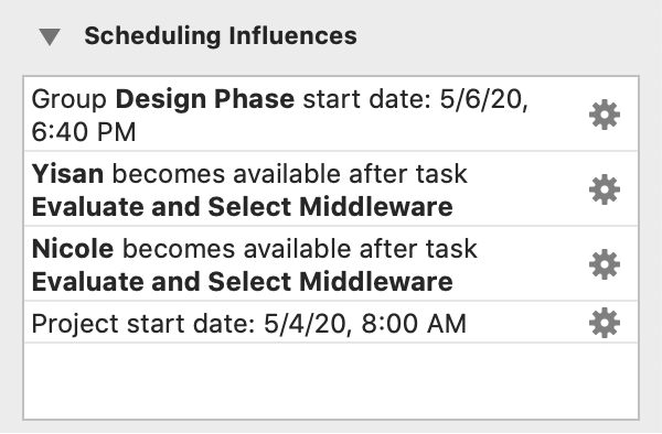 The Scheduling Influences section of the Task inspector.