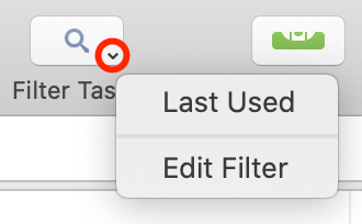 Clicking and holding to access the Filter button's secondary menu.