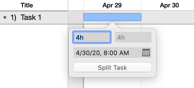 A task ready for splitting via the contextual menu.