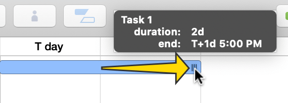 Changing the duration of a task in the Gantt chart.
